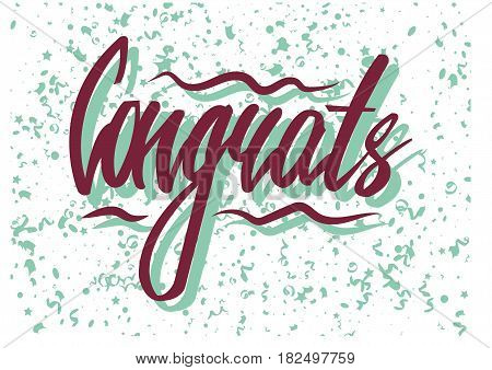 Vector illustration of congrats lettering and the confetti pattern.