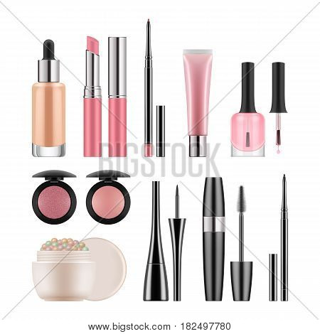 Vector set of packages for decorative cosmetics for nude makeup. Realistic blank template of containers for concealer, powder, pink lipstick and lipgloss, rouge, nail polish and mascara.