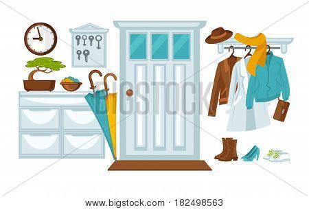 The door and the hallway with coats, jackets and accessories. Vector illustration.