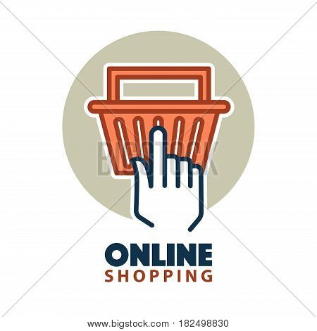 Online shopping concept with a hand clicking on a bag for checkout. Vector illustration.