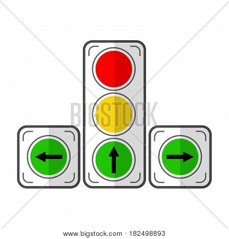 Traffic light. Flat color icon, object. Device for adjusting the movement of vehicles