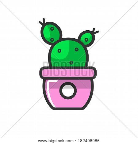 Vector illustration of a small cactus growing in a purple flowerpot.
