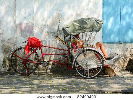 Rickshaw On Streets In Penang, Malaysia