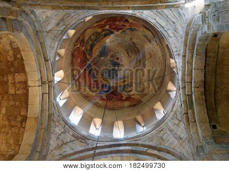 Stone Dome With Fragments Of Old Fresco. Inside Of Svetitskhoveli Cathedral In Mtskheta, Georgia