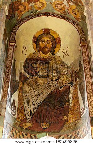 Image Of Jesus Christ. Inside Of Svetitskhoveli Cathedral In Mtskheta, Georgia