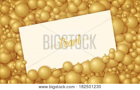 Vector illustration of card placed in golden pearls or spheres. Volumetric randomly distributed balls. Surface constructed from orange balls background. Luxury card mockup, template.