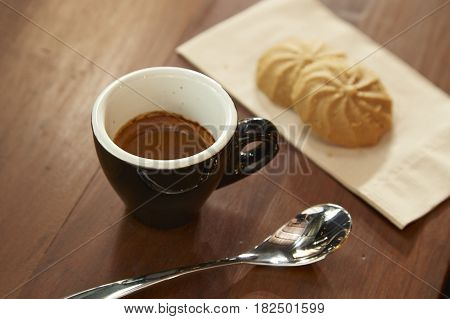 Black Coffee Is Eaten With Cookie