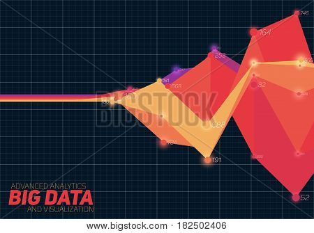 Vector abstract colorful financial big data graph visualization. Futuristic infographics aesthetic design. Visual information complexity. Intricate data threads chart. Business analytics.