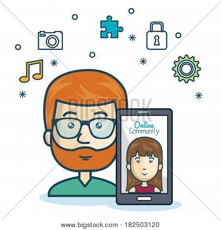 man community online smartphone with app media design vector illustration eps 10
