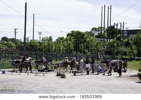 Laval, Quebec - June 14, 2015 - Wide view of happy children riding on the live Pony Ride in the Nature Park, Laval, Quebec on a sunny day in June.
