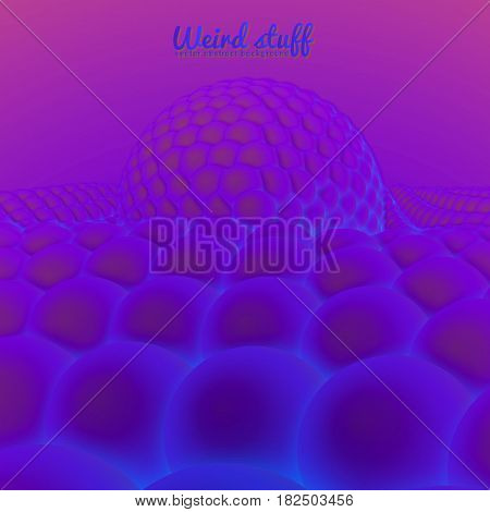 Vector abstract surface constructed from spheres sag under the big sphere. Violet balls background. Conceptual splash backdop with spheres. Subatomic structure, nanotechnological image.