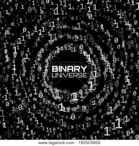 Vector data flow visualization. Grayscale big data flow as binary numbers strings twisted in infinity tunnel. Information code stream. Cryptographic analysis. Bitcoin blockchain transfer.