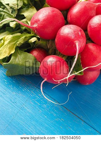 Bunch of organic radishes on an old wooden table healthy food concept