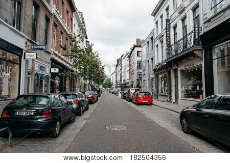Antwerp Belgium - July 28 2016: Commercial street in Antwerp at sunset. It is a city in Belgium in the region of Flanders. It has the biggest port in Belgium.