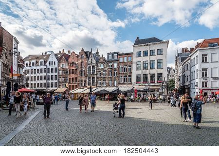 Antwerp Belgium - July 28 2016: Square in front of Cathedral of Antwerp. It is a city in Belgium in the region of Flanders. It has the biggest port in Belgium.