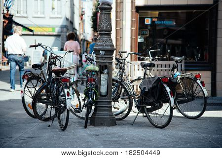 Antwerp Belgium - July 28 2016: Bicycles parked in the Grote Markt of Antwerp. It is located in the heart of the old city quarter.