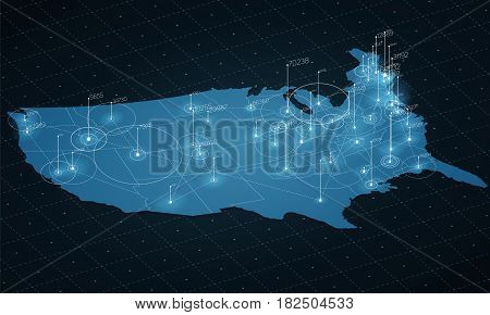 USA map big data visualization. Futuristic map infographic. Information aesthetics. Visual data complexity. Complex USA data graphic visualization. Abstract data on map graph.