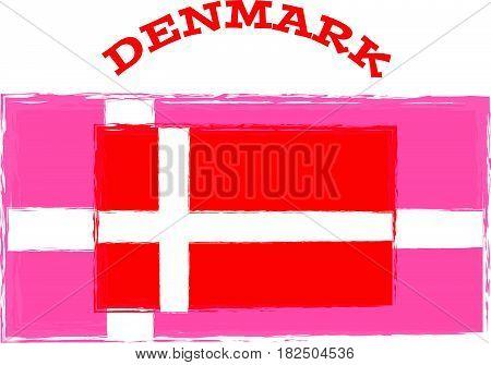 Denmark flag on white background. Vector illustration.