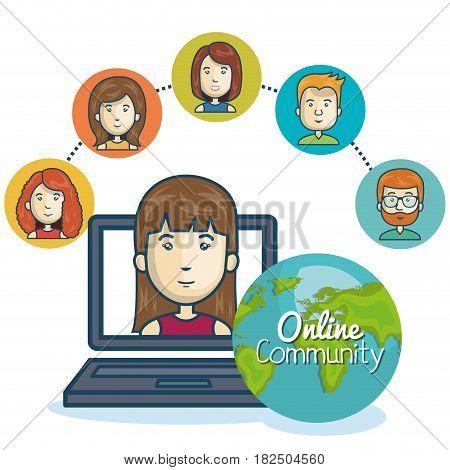 woman community online smartphone design vector illustration eps 10
