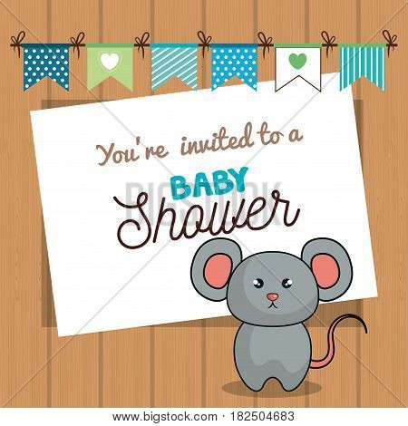 invitation baby shower card with mice desing vector illustration eps 10