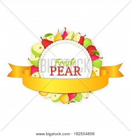 Round colored frame composed of pears and ribbon. Vector card illustration. Circle pears label, pears fruit whole and sliced appetizing looking for packaging design of healthy food