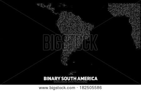 Vector abstract binary South America map. Continents constructed from binary numbers. Global information network. Worldwide network. International data. Digital world in modern cyber reality.