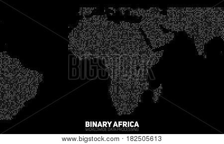 Vector abstract binary Africa map. Continents constructed from binary numbers. Global information network. Worldwide network. International data. Digital world in modern cyber reality.