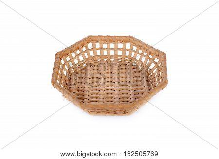 empty octagon bamboo basket on white background