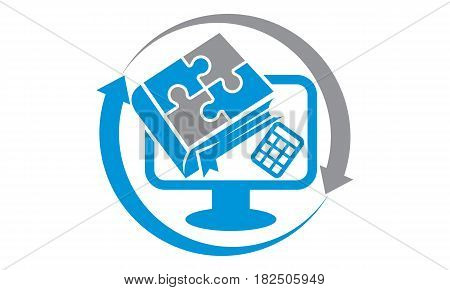 This vector describe about Book Computer Calculator Accountant Center