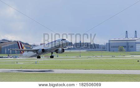 Germany - Hamburg, April 17, 2017: germanwings aircraft at the start on the runway Hamburg airport -  Hamburg Airport April 17, 2017