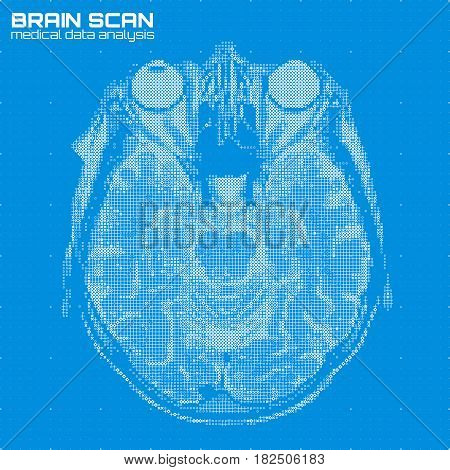 Vector blue abstract brain tomography analysis illustration. Digital brain x-ray scan. Medical data MRI visualization concept. Futuristic healthcare software HUD UI. Data driven image. Human head