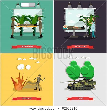 Vector set of military posters. Wounded, Infirmary, Grenade and Tank flat style design elements.