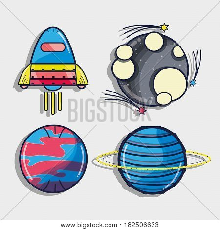 rocket with different planets in the galaxy space, vector illustration