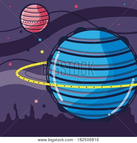 uranus and venus planets in the galaxy space, vector illustration