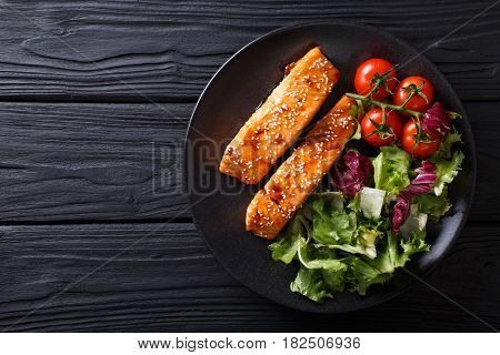 Salmon In Honey-soy Glaze And Fresh Vegetable Close-up. Horizontal Top View