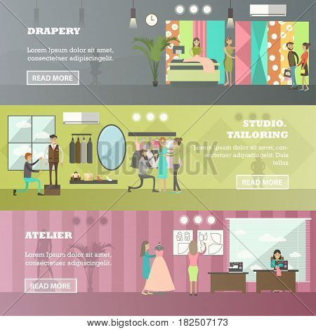 Vector set of fashion salon, sewing workshop horizontal banners. Drapery, Studio tailoring and Atelier flat style design elements.