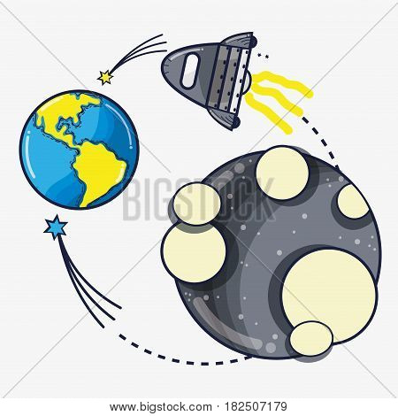 rocket exploring to moon and come back to earth planet, vector illustration
