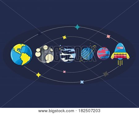 solar system in the galaxy space and rocket, vector illustration
