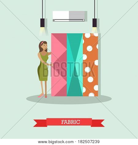 Vector illustration of young woman choosing fabric to have clothing made. Atelier, tailoring shop, fashion salon concept design element in flat style.