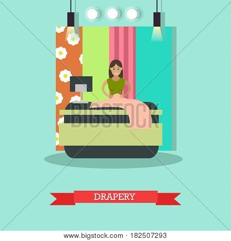 Vector illustration of young woman draping cloth in folds. Atelier, tailoring shop, fashion salon concept design element in flat style.