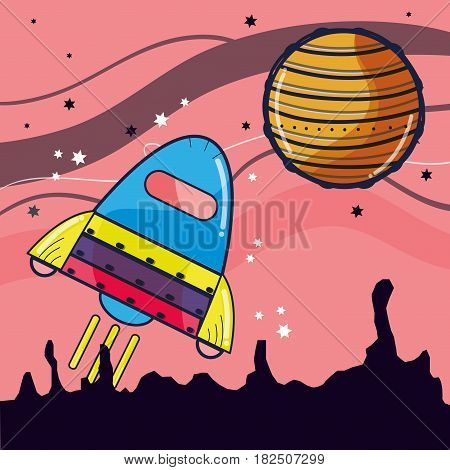 rocket visiting to jupiter planet in the space, vector illustration