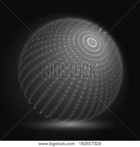 Vector cyber sphere. Grayscale big data sphere with binary numbers strings. Information code structure representation. Cryptographic analysis. Bitcoin blockchain transfer.