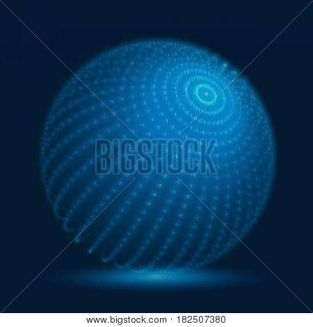 Vector cyber sphere. Blue big data sphere with binary numbers strings. Information code structure representation. Cryptographic analysis. Bitcoin blockchain transfer.