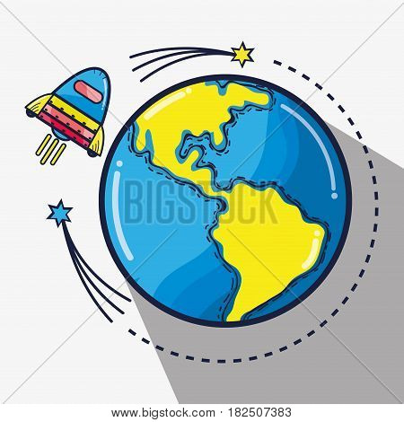 rocket around of earth planet in the galaxy space, vector illustration