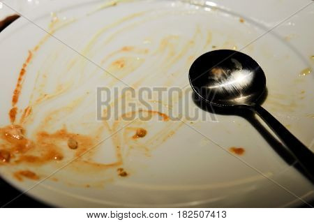 dirty dish after meal, finish eat food dinner