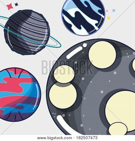 differents planets near to the moon in the galaxy, vector illustration