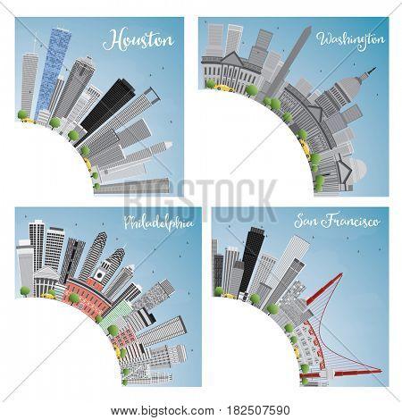Set of 4 City in Usa. Houston, Washington DC, Philadelphia, San Francisco.