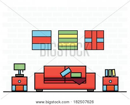 Red Sofa with Two Curbstones. Room Interior.