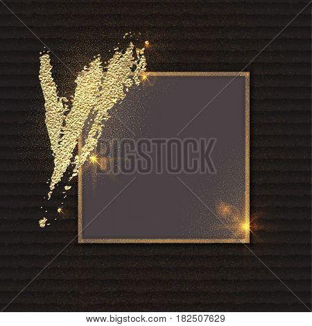 The raster version golden glittering frame. Glittering dust.