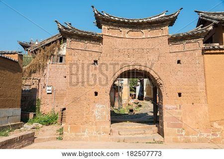 Yunnan, China - Mar 20 2015: East Village Gate At Shaxi Ancient Village. A Famous Ancient Village Of
